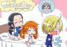 One Piece, Strawhat Pirates, Sanji, Nami, Robin