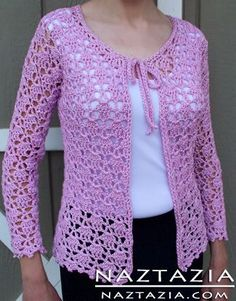 "Free Pattern - Crochet Lacy Cardigan Sweater [   ""Free Pattern - Crochet Lacy Cardigan Sweater - some other pretty clothing patterns for free here, too."",   ""Naztazia® - Creative Self-Sufficient Living Website (Link zur Anleitung."",   ""Free Pattern - Crochet Lacy Cardigan Sweater by Doris Chan - this links straight to the pdf."",   ""Free Pattern - Crochet Lacy Cardigan Sweater (links to page with lots of other pattern links, PDFs, and video tutorials. Many different kinds of patterns here.""…"