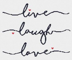 Items similar to quote cross stitch pattern PDF/ Live laugh love / hand written embroidery/ easy counted needlepoint chart/ modern cross stitch pattern quote on Etsy Cross Stitch Quotes, Cross Stitch Love, Cross Stitch Cards, Cross Stitch Alphabet, Cross Stitching, Cross Stitch Embroidery, Modern Cross Stitch Patterns, Cross Stitch Designs, Pattern Quotes