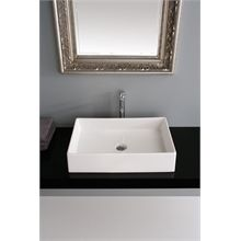 Make your bathroom look sophisticated with the Scarabeo by Nameeks Teorema Rectangular Vessel Bathroom Sink. The modern style of the sink enhances the look of the bathroom decor. Made from ceramic, this s Contemporary Bathroom Sinks, Wall Mounted Bathroom Sinks, Undermount Bathroom Sink, Modern Ceramics, White Ceramics, Sink Organizer, Ceramic Sink, Villeroy, Vessel Sink