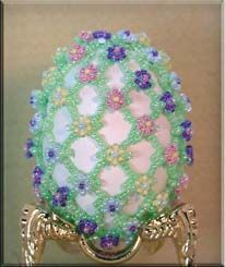 Beaded Easter Egg Pattern:  Spring Floral Easter Egg ~ Beadwork Designs by Joanie Jenniges