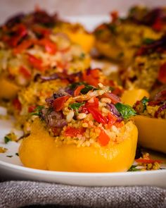 Try this Stuffed Peppers Recipe filled with Bulgur Wheat Pilaf, nuts, cranberries & more. A tasty, easy vegetarian & vegan recipe for a main meal or side dish. Vegetarian Stuffed Peppers, Bulgar Wheat, Side Salad, Main Meals, Vegan Vegetarian, Side Dishes, Vegan Recipes, Dinner Recipes, Cranberries