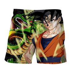 Dragon Ball Z Son Goku & Shenron Cool Aura Pose Boardshorts