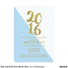 Blue and Gold Color Block | Graduation Party 5x7 Paper Invitation Card