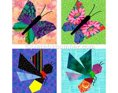 Butterfly & Firefly quilt block patterns, paper pieced quilt patterns, instant download PDF, butterfly quilt patterns firefly quilt patterns