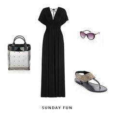 draped black maxi dress, embellished tstrap sandals, shades, neat little bag