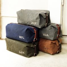 Personalized Waxed Cotton Canvas and Leather Dopp Kit Set