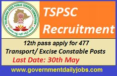 TSPSC RECRUITMENT 2016 APPLY ONLINE FOR 477 CONSTABLE POSTS ~ Government Daily Jobs