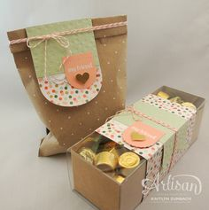 Create with Kaitlyn: Gold Soiree Gifts - Monday Montage | Some cute gift packages using the Gold Soiree DSP and Polka Dot Gift Bag and Gift Box from Stampin' Up!