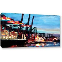 ArtWall Markus Bleichner Hamburg Harbor with Container Ship Gallery-wrapped Canvas, Size: 18 x 32, Blue