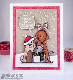 Handmade by Yuki: Furry Christmas Card featuring Simon Says Stamp