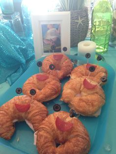 Croissant crab sandwiches for mermaid themed birthday party