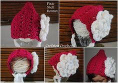 free crochet pattern pixie shell bonnet 12mo