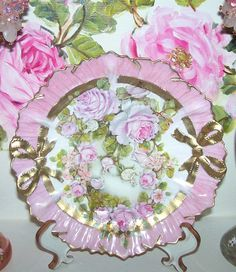 Romantic Antique Pink Porcelain Plate Ribbons Display Plate