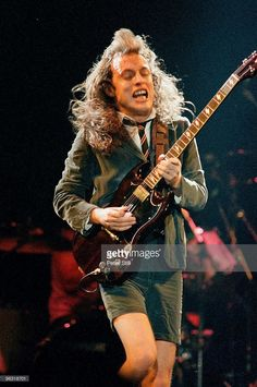 Angus Young of AC/DC performs on stage at Wembley Arena on January 17th, 1986 in London, United Kingdom.