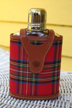 Vintage 1950s Glass Flask with Metal Shot Glass Lid with Leather and Plaid Case by retrowarehouse on Etsy