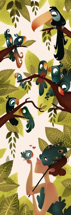 Line Drawing. illustration. character. animal. bird. sketch. angles. expression. cute. plant. jungle. girl. toucan leaves. forest. Britney Lee.
