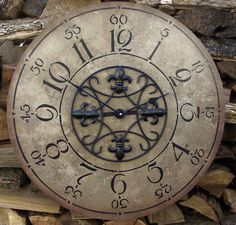 22 Inch Unique Clock with Black Fleur-De-Lis by ClocksByHomestead