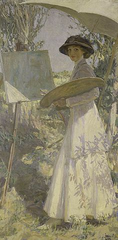 Mrs Lavery sketching, 1910 by Sir John Lavery (Irish 1856-1941) ....although Irish, Lavery spent much of his formative life and career in Scotland and was a central figure of The Glasgow Boys...