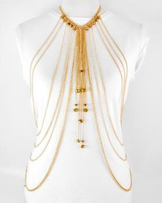 GOLD TONE BRONZE GLASS CRYSTAL MULTI ROW BODY CHAIN