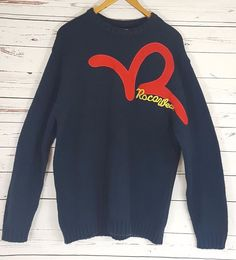 Rocawear Mens Crewneck Sweater Logo 100% Acrylic Navy Size Large Fits  Bigger  Rocawear   abd822690f682