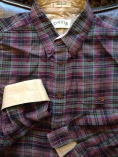 Men Orvis Purple Black Green Blue Plaid Large Shirt L/S #Orvis #ButtonFront