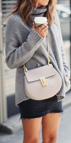 One of my favorite Chloe crossbody bags...love the big sweater too