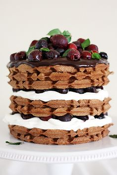 Black Forest Cherry Waffle Cake Stack