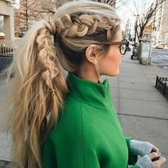 Instagram photo by amberfillerup - Jumping on the Dutch braid ponytail bandwagon ..Anyone have recommendations for an amazing blonde colorist in New York City? I get so nervous to try new people #barefootblondehair