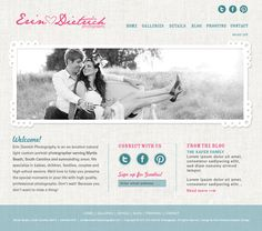 I love the layout and how easy it is to navigate. Easy color palette with nice texture as well | #Web design / #blog design for Erin Dietrich Photography by Nina Randone, via Behance