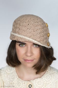 Hopeful Honey: 1920s Caramel Cloche Hat - Free Crochet Pattern by Olivia Kent. Worsted weight.
