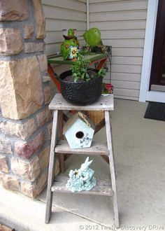 Summer Front Porch Ideas. Ladders with flower pots.