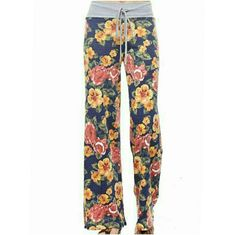 FRENCH TERRY PRINT WIDE LEG PANTS How cute are these? Super soft blue wide leg pants with floral print. Gray waist band with drawstring closure. Available in S,M,L  Made in USA PLEASE COMMENT SIZE PRICE IS FINAL 60% POLYESTER 32% RAYON 8% SPANDEX 4 Bidden Boutique Pants Wide Leg
