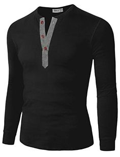 Mens Casual Slim Fit Basic Henley Long Sleeve T-shirt b14998ec28