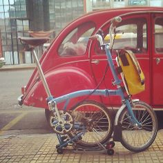 Brompton folding bike, Freitag bag, Citroen 2CV