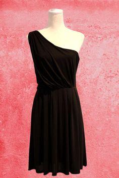 One shoulder sleeveless black dress, Greek goddess style