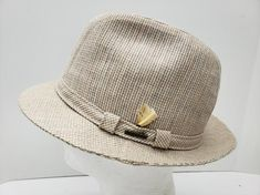 Men's Stetson Fedora Cream and Brown Check Design Size Large Stetson Fedora, Feather, Classy, Cream, Trending Outfits, Brown, Metal, Vintage, Store