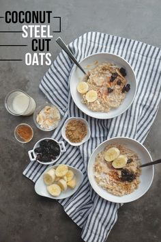 Coconut Steel Cut Oats made with coconut milk in the rice cooker! Find the recipe on Shutterbean.com!