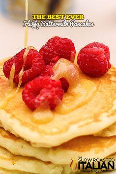 The Best Ever Fluffy Buttermilk Pancakes  From theslowroasteditalian.com #recipe #breakfast #pancakes