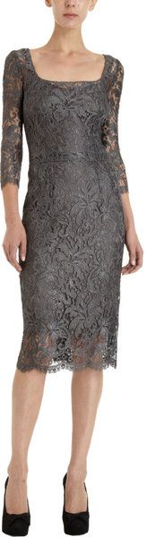 Dolce & Gabbana Lace Overlay Sheath Dress in Gray (floral) - Lyst
