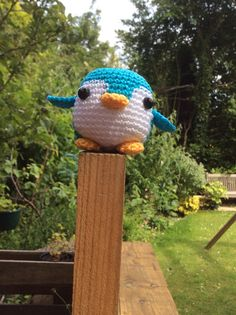 Crochet penguin with cotton No 3 fits in the palm of your hand, handmade by me from Adorably Kawaii on Ravelry. : )