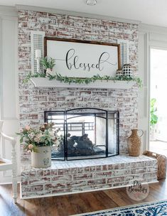 I'm sharing an easy way to lighten and brighten a dark and drab fireplace using chalk paint! My technique for a chalk painted fireplace is simple, fast and mess-free! You can have a brand new fireplace in just a couple of hours! Update Brick Fireplace, Brick Fireplace Wall, White Wash Brick Fireplace, Painted Brick Fireplaces, Faux Brick Walls, Farmhouse Fireplace, Home Fireplace, Fireplace Remodel, Fireplace Design