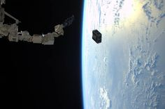 February 2, 2016 Expedition 46 flight engineer Tim Peake of ESA captured this photo on Jan. 29, 2016 from the International Space Station, as the robotic arm in Japan's Kibo laboratory successfully deployed two combined satellites from Texas universities. The pair of satellites -- AggieSat4 built by Texas A