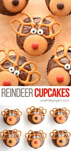 These reindeer cupcakes are SO EASY and so much fun to make! They'd be great for a school party, a Christmas pot luck, or just as a fun treat to make with the kids when school's out! They're so adorable for the holidays! Christmas Potluck, Christmas Goodies, Christmas Treats, Christmas Recipes, Reindeer Cupcakes, Baking With Kids, Pot Luck, School Parties, Dessert Recipes