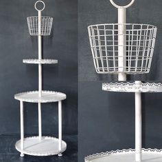 Three Tier Shelf | Metal Shelving | Round White Display | Round Side Table