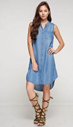 Love Stitch Tencel Sleeve Less Button Down Shirt Dress #LoveStitch #ButtonDownShirt