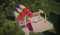 This type of playground, created by minecraft, displays two types of playground equipment like a slide and a swing