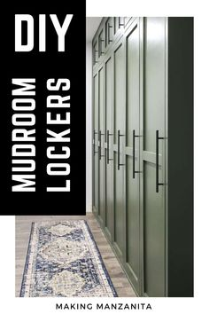 Learn how to build DIY wood dark green painted mudroom lockers with doors, hooks for jackets and backpacks, with shoe storage, and modern farmhouse shaker style doors. Love how much organization this adds to our home! Basement Bar Designs, Home Bar Designs, Basement Ideas, Mudroom Cabinets, Diy Cabinets, Diy Locker, Locker Storage, Wood Lockers, Backpack Storage