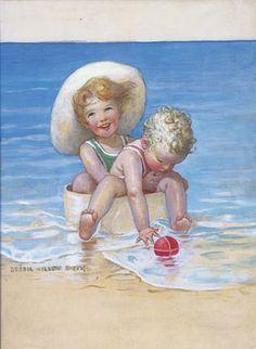 """Jessie Willcox Smith - """"Children at the Beach"""" (1932)"""