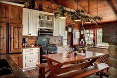 I love this cabin kitchen